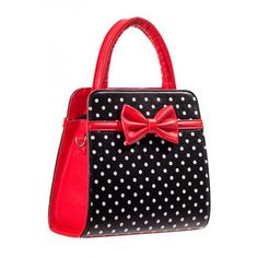 Carla Polka Dot Bow Retro Handbag by Banned Apparel in Red Black