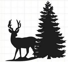 Deer Silhouette with tree