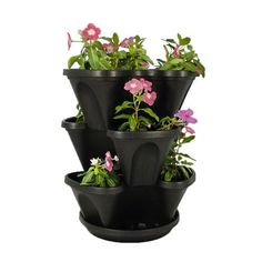 Nancy Janes 3Tier Stacking Planter Set 12Inch Black *** Click image to review more details.
