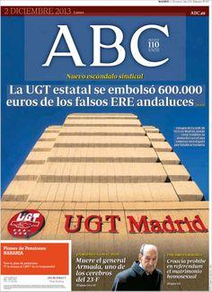 Los Titulares y Portadas de Noticias Destacadas Españolas del 2 de Diciembre de 2013 del Diario ABC ¿Que le pareció esta Portada de este Diario Español?