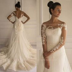 Designer Wedding Dresses New Fashion Romantic Mermaid Wedding Dresses Lace Appliques Long Sleeves Sheer Neck Court Train Bridal Gowns Tulle Wraps Shawl Bolero Bo7201 Kate Middleton Wedding Dress From Orientalbeautygown, $130.35| Dhgate.Com