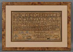 1831 Needlework Sampler, Agnes Gibson, Skinner Auctioneers, MA