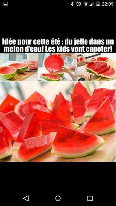Jello dans un melon deau Ballons, Jello, Grapefruit, Birthday, Party, Ribbons, Snacks, Water, Eat