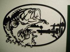 Bass Fisherman - Metal Wall Art. $195.00, via Etsy.