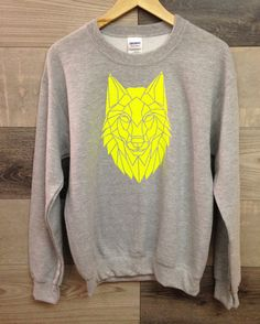 Neon and Grey Wolf Print Graphic Sweater Unisex Wolf by Stencilize