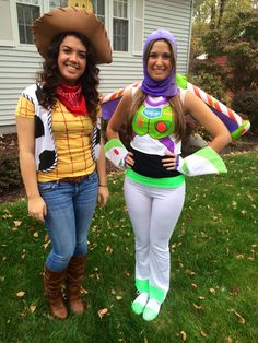 Homemade buzz light-year and Woody costumes from Toy story
