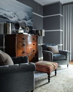 Chic grey, masculine bedroom by Thom Filicia. Horizontal lines or molding. Masculine Room, Masculine Interior, Blue Grey Walls, Living Spaces, Living Room, House Design, Design Design, Interior Design, Thom Filicia