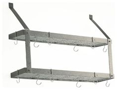 """Dimensions: 35""""W x 8-1/2""""D x 24""""HThis double shelf wall-mounted pot rack features two shelves for even more storage space. It is a great rack for smaller"""