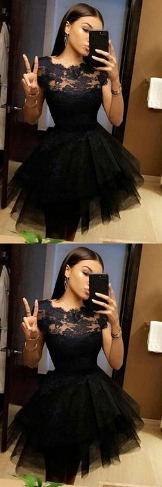 Black Short Sleeve Homecoming Dress,Lace Appliques Puff Short Prom Dress H179 Short Prom Dresses, Homecoming Dresses, Prom Gowns, Party Dresses, Graduation Dresses, Short Prom Dresses, Gowns Prom, Cheap Prom Gowns on Line