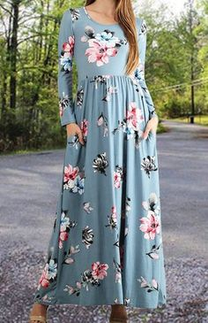 Dusty Blue Floral Maxi Dress Abaya with Full sleeves with elasticized waist and side pockets.