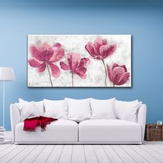 Cuadro texturado de flores rosas Living Room Pictures, Botanical Art, Painting Inspiration, Wall Murals, Flower Art, Canvas Art, Tapestry, Watercolor, Gallery