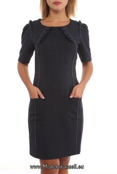 Schwarzes Designer Buero Kleid Knielang Claire
