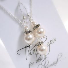 White Pearl Necklace and Earring Set by alexandreasjewels on Etsy