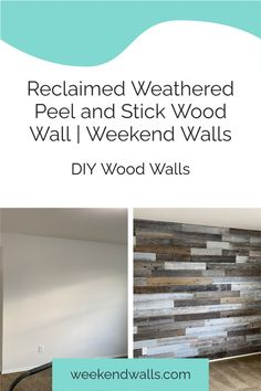 Before and after living room remodel - wall makeover with peel and stick wood wall planks. Simply peel, stick, apply to the wall, repeat! These are real wood wall planks made out of 100% reclaimed wood. DIY living room makeover in less than a weekend!