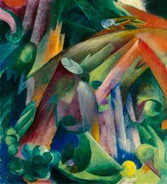 Woods inside with bird - Franz Marc jako tisk anebo olejomalba Franz Marc, Wassily Kandinsky, Cavalier Bleu, Degenerate Art, Blue Rider, Print Artist, Animal Paintings, Oeuvre D'art, Painting Inspiration