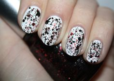 China Glaze Scattered & Tattered red glitter with black Bitz 'N' Pieces. Click the photo to see the full swatch review on Polish You Pretty!