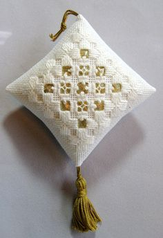 White and Gold Hardanger Christmas Ornament 207 by NoelBelles, $10.00