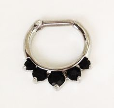NEW Septum Clicker 316L Surgical Steel Black gem Body Jewelry - Size 14g / 16g in Jewelry & Watches | eBay $10