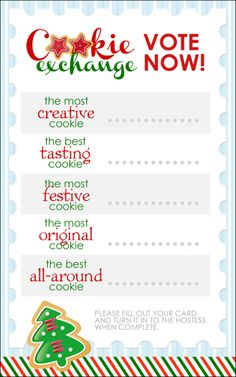 cookie exchange voting printable