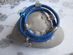Wickelarmband aus Nappaleder in blau von Perlenfieber auf DaWanda.com