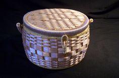 Vintage Pale Pink Round Wicker Sewing Basket
