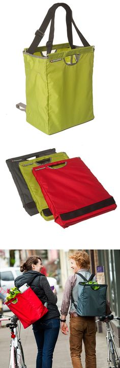 Convertible Grocery Bag - use as a bag or backpack, stores flat