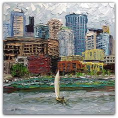 "Urban Sailing by Arlon Rosenoff Palette Knife Oil ~ 18"" x 18"""