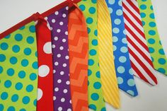 Circus Birthday Party Decor Banner Bunting, Carnival Party Flags Decoration - red, yellow, blue, green, orange, purple, polka dots boy, girl on Etsy, $30.00