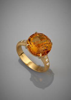 CARELLE Orange Citrine and Diamond Ring