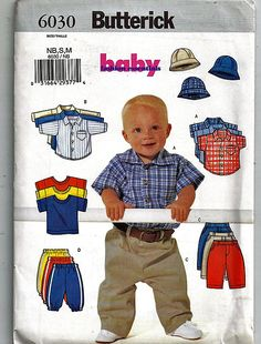 Infants' Shirt, T-Shirt, Pants & Hat Size NB, S, M / Original Butterick Uncut Sewing Pattern 6030 by grammysyarngarden on Etsy