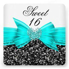 Sweet 16 Luxury Glitter Teal Bow Black White