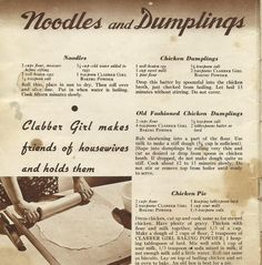 Clabber Girl Recipes: Chicken pie made with lard, noodles and dumplings