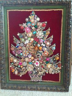 Large 14.5x18.5 Original Vintage Jewelry Christmas Tree Framed Red Gold Blue - ebay $850.00