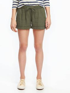 "Mid-Rise Cuffed Linen-Blend Shorts for Women (4"") - Olive"