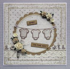 Handmade card for someone leaving to have a baby, with neutral colours