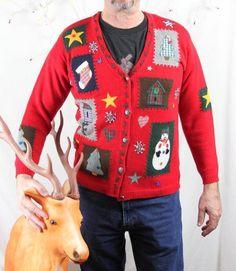 Karen Scott M size Ugly Christmas Sweater Patch Craft Country Design Cardigan #KarenScott #Cardigan