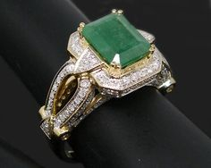 Jewelry Emerald Swiss Topaz Ring 14k Gold 3.80ct Natural Diamond ...