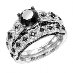 Audacious White Diamond Set 2.38 Ct Princess Diamond Black Sterling Silver Ring Handmade! Fine Rings Exquisite Traditional Embroidery Art