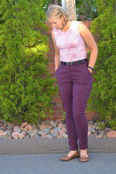 Slim fit pants pattern PDf sewing pattern pretty purple