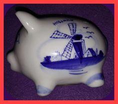Vintage DELFT Blue Hand Painted PIGGY BANK
