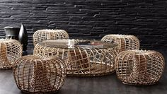 Rattan furniture has long been associated with porches, patios and sunrooms, but it can also be used indoors. There are numerous styles of rattan that Cane Furniture, Bamboo Furniture, Pool Furniture, Modern Outdoor Furniture, Compact Furniture, Unique Furniture, Rattan Coffee Table, Rattan Chairs, Coffee Tables