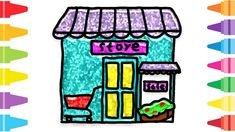 Glitter Store how to coloring and drawing for Kids & Color pages Fun At Work, Drawing For Kids, Coloring For Kids, Glitter, Make It Yourself, Store, Drawings, Painting, Tent