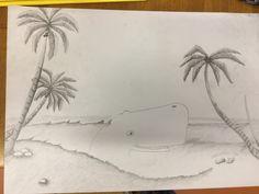 Vandaag korte les, niet erg ver gekomen. De palmbomen verlopen aardig.