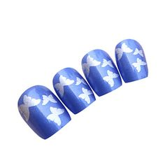 Blue Butterfly Style Nail Art Tips With Glue (24pcs) – USD $ 3.99