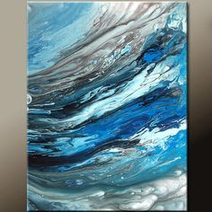 In the Waves - NEW Abstract Canvas Art Painting 18x24  by wostudios, $69.00