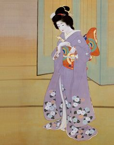 Japan, hanging scroll, by Uemura Shoen ) Japanese Art Styles, Japanese Art Modern, Japanese Artwork, Japanese Artists, Japanese Culture, Vintage Japanese, Geisha Art, Japan Painting, Japanese Quilts