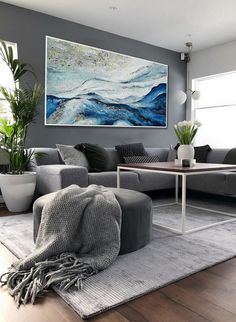 Silver Blue Extra Large Panoramic Abstract Acrylic Framed   Etsy Large Abstract Wall Art, Oil Painting Abstract, Large Wall Art, Acrylic Painting Canvas, Abstract Canvas, Framed Wall Art, Canvas Wall Art, Contemporary Frames, Modern Wall Art