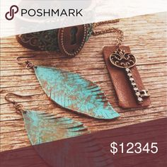 COMING SOON🗝💖Rustic Boho Leather Jewelry Set Working on this set for the last few days and I will have it up for grabs this weekend! Leather keyhole adjustable bracelet, brass skeleton key with rhinestones & leather strip and hand cut leather feather earrings with a highly distressed & hand painted patina. Ohh my😍 More pictures will be up soon! Abbie's Anchor Jewelry Necklaces