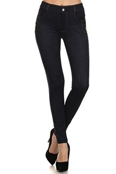 Fashion Mic Womens Ready to Wear Jean Leggings Black and Navy (medium/large, pocket zipper (nvy)) >>> Be sure to check out this awesome product. We are a participant in the Amazon Services LLC Associates Program, an affiliate advertising program designed to provide a means for us to earn fees by linking to Amazon.com and affiliated sites.