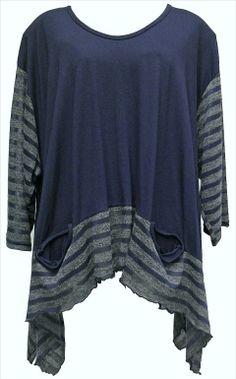 AKH Fashion Lagenlook ausgefallenes Oversize Shirt mit Zipfeln in blau XXL Mode bei www.modeolymp.lafeo.de